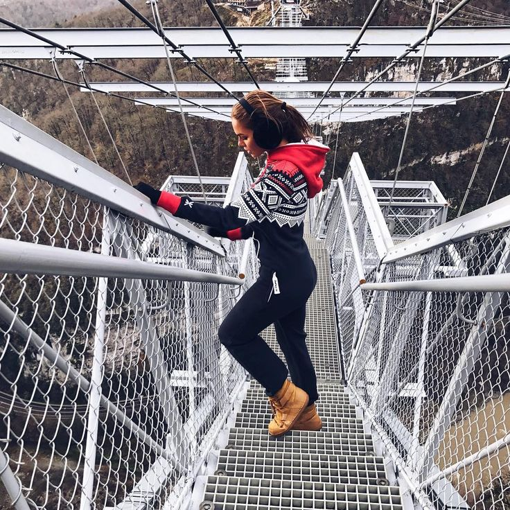 VIKI ODINTCOVA will overcame her fear today   to jump over the bridge in Skypark AJ Hackett Sochi - Russia. She is wearing the Marius Onesie #travel #onepiecenorway #slackerlife #onesie #russia #mountains #jumpsuit