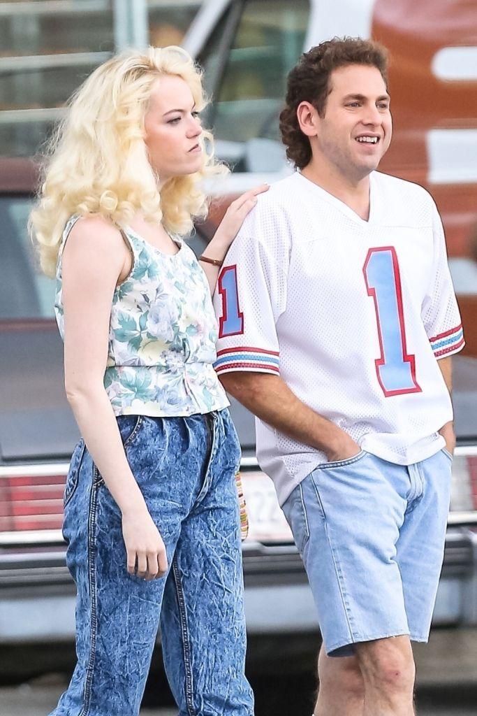 Эмма Стоун и сильно похудевший Джона Хилл на съемках сериала Кэри Фукунаги «Маньяк» для Netflix