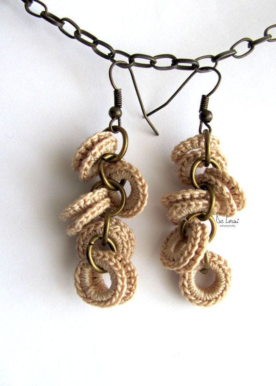 Shabby chic natural cream beige cotton crochet earrings. Eco jewlery. Rustic wedding, bridesmaid gift. Antique brass. Bohemian style