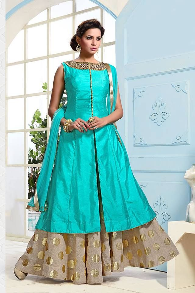 Buy this dashing lehenga for an unbeatable price of only INR4000! What's more.. we offer FREE worldwide shipping... always! Buy Lehenga online - http://www.aishwaryadesignstudio.com/classy-rama-green-beige-lehenga-with-zari