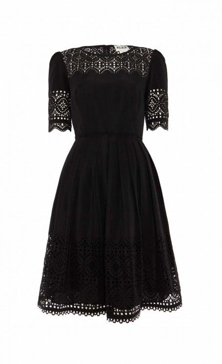 Black fit and flare dress with laser cut detailing - Temperley London Madison Dress