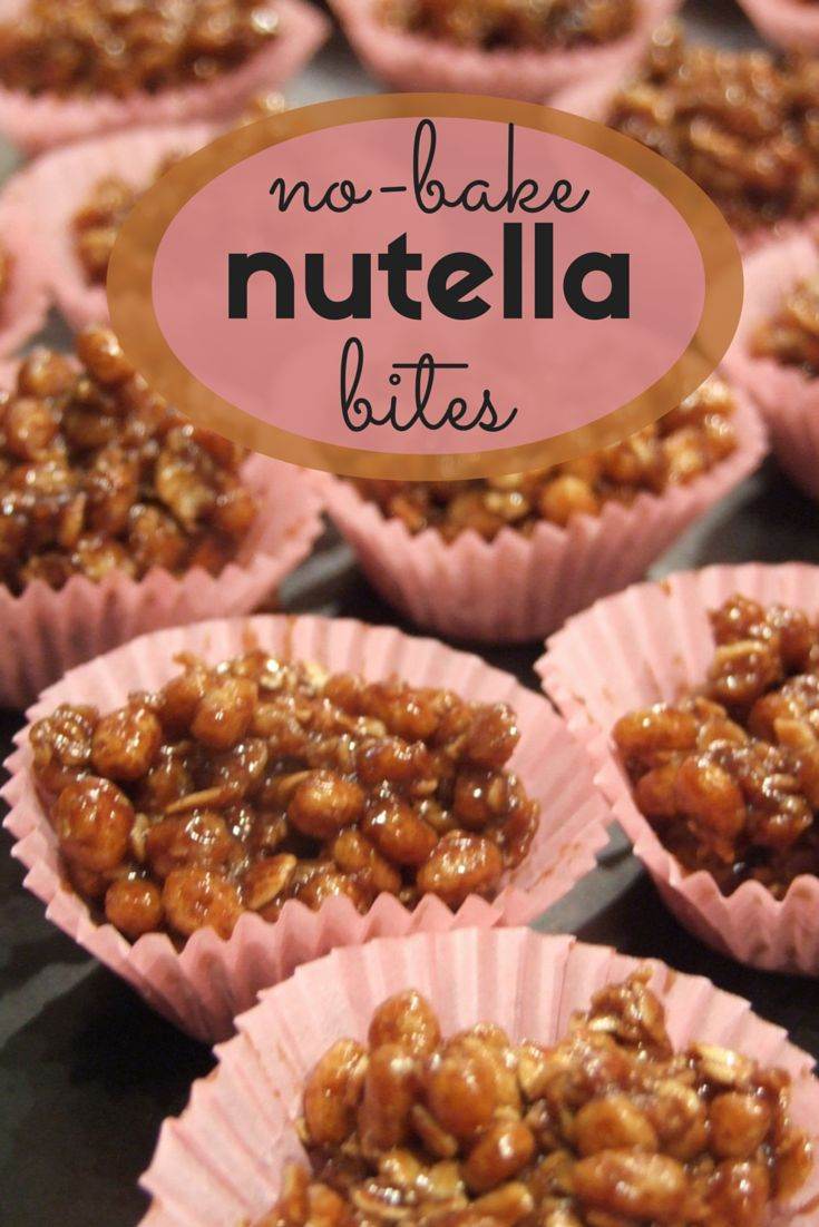 no bake nutella bites - easy treats made from oats, puffed rice, milk & nutella. #delicious #nobake #dessert
