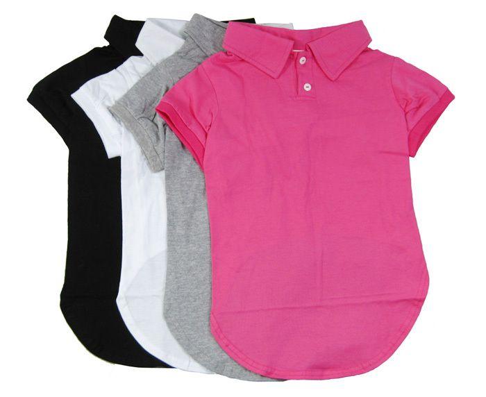 Большая Собака Пустой Рубашки Поло 2-кнопочная Большая Собака Летней Одежды Простые Цвета Розовый Черный Белый Серый