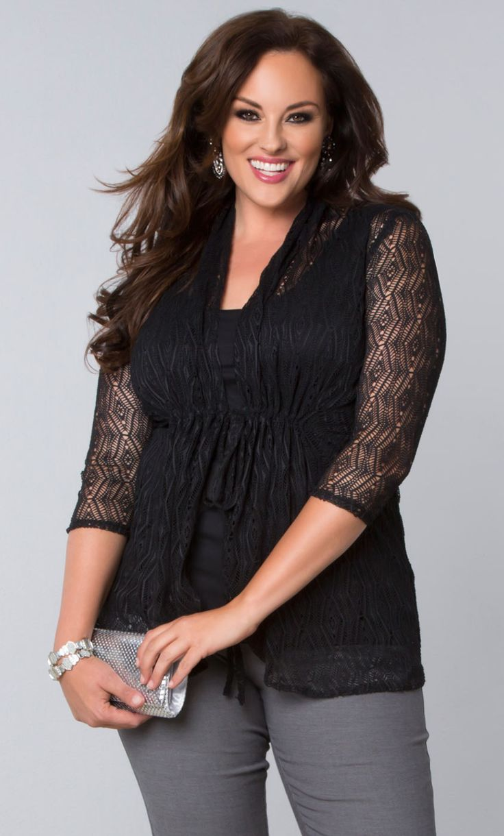 Step away from your traditional lace with our plus size Bohemian Crochet Bellini.  This stylish front-tie cardigan is a beautiful sheer crochet lace that's easy to layer.  Shop our entire made in the USA collection at www.kiyonna.com.  #KiyonnaPlusYou