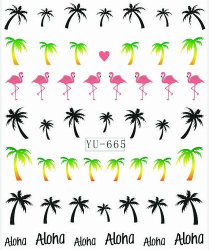 1X наклейки на пальма оптово-фламинго вода трансферы наклейки ногтей наклейки вода наклейка Opp рукав упаковка YU665