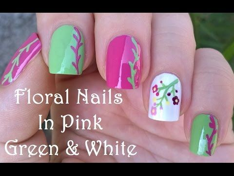 FLORAL Nail Art In Pink, Green & White / Nail Brush & Dotting Tool Designs - YouTube