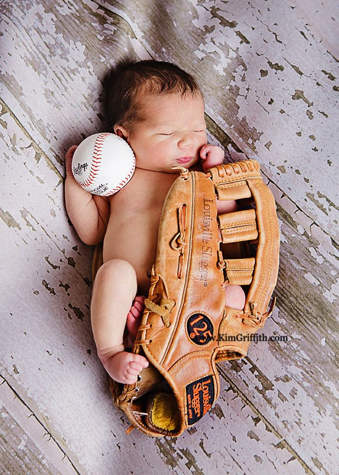 Newborn Baby Boy Picture with baseball glove | Newborn portraits | Waldorf Md | Newborn with twin sisters
