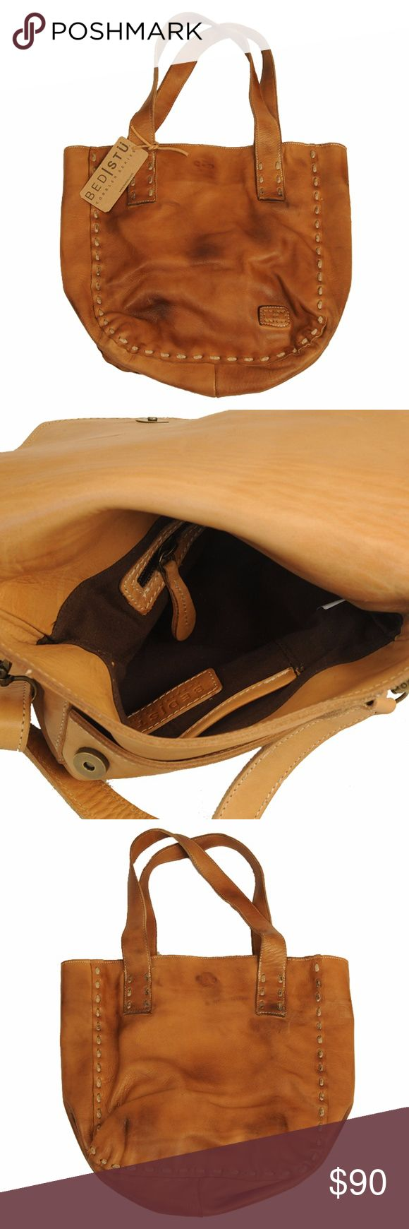 Bed Stu Women's Stevie Bag Tan Glove NEW New in plastic bag  Never Used   Leather Imported Blaze style trails and turn heads in this rustic Stevie Tote from Bedstu™. Heavily distressed leather tote with exaggerated stitching accents. Open closure. Dual flat shoulder straps. Flat bottom supports upright structure.  Lined interior with back wall zip pocket. Imported.   Bed Stu Belt Size Guide Measurements: Bottom Width: 11 in Depth: 3 1⁄4 in Height: 12 in Strap Length: 22 in Strap Drop: 10 in…