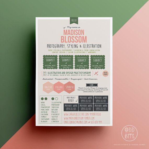 Resume CV Design Template  Cover Letter  Instant by OddBitsStudio