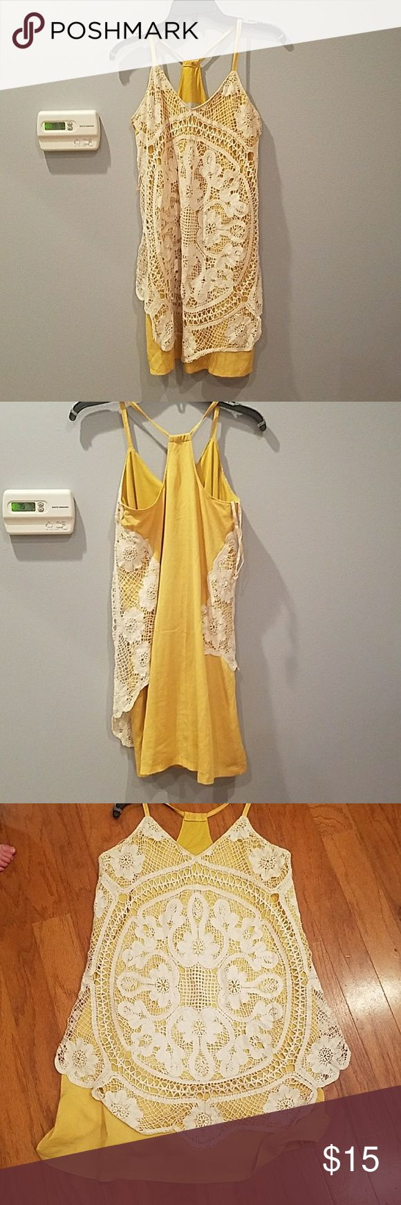 Judith March Crocheted front dress Mustard yellow and cream Judith March Dresses