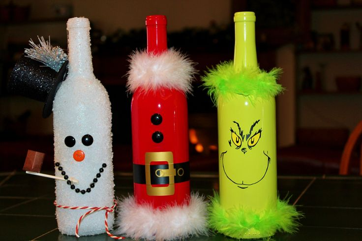designs by me...love my silhouette! snowman santa grinch wine bottles