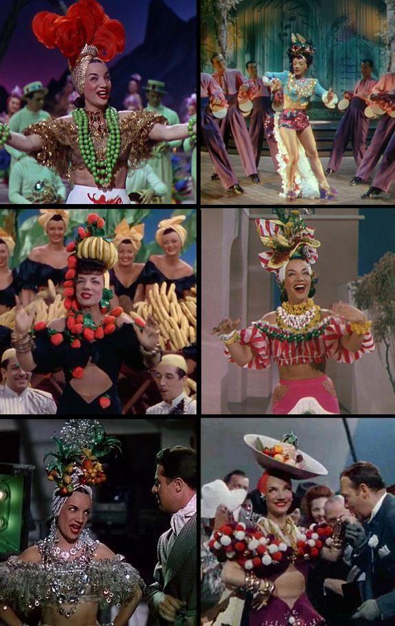 Carmen Miranda in: 'That Nigh in Rio' (1941), 'Copacabana' (1947), 'The Gang's All Here' (1943), and 'Weekend in Havana' (1941)