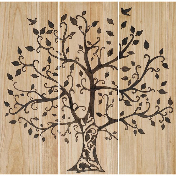 "Natural wood finish panels features an intaglio tree silhouette. Wall Sculpture / Wood 12""W x 36""H x 1""D Weight: 9 pounds Each piece is custom made. Ready to ship in 15 - 22 days."