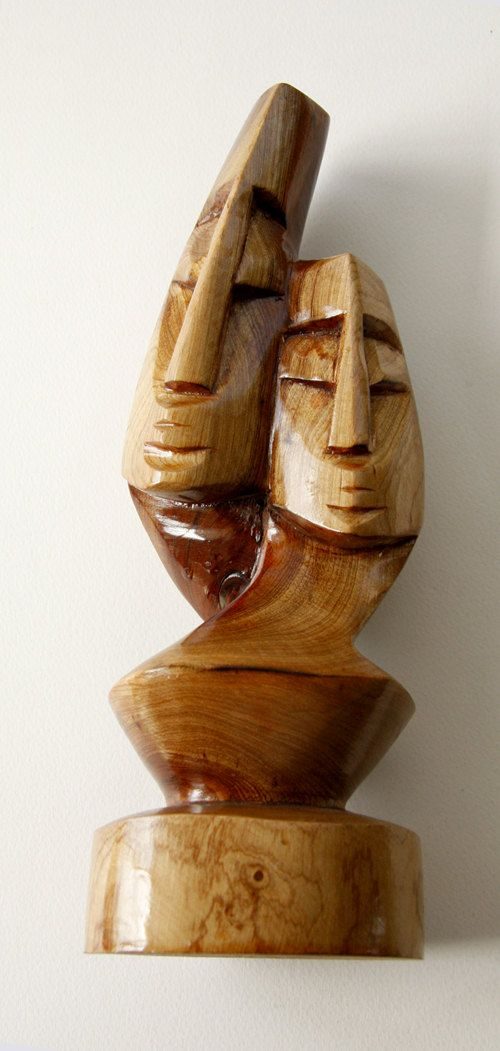 Vintage solid wood carving the lovers mid century fiji