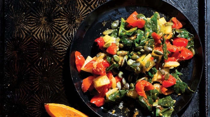 Try this roasted butternut with spinach, pesto and pumpkin seeds recipe