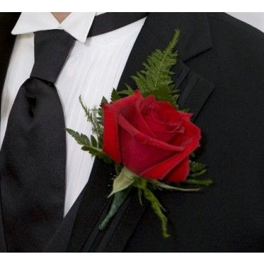 Red Rose Boutonniere with fern