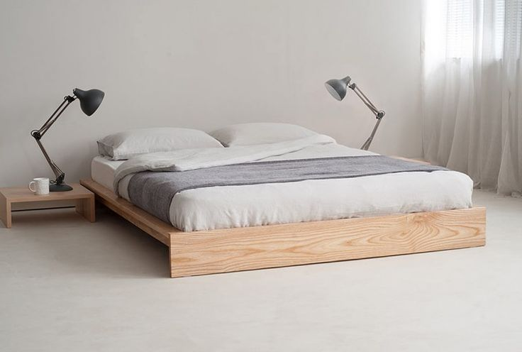 Birch Wood Bed Frame With Lamp Table On Both Site On Grey Carpet With Platform Beds Without Headboards Plus Beds Without Headboard Ideas