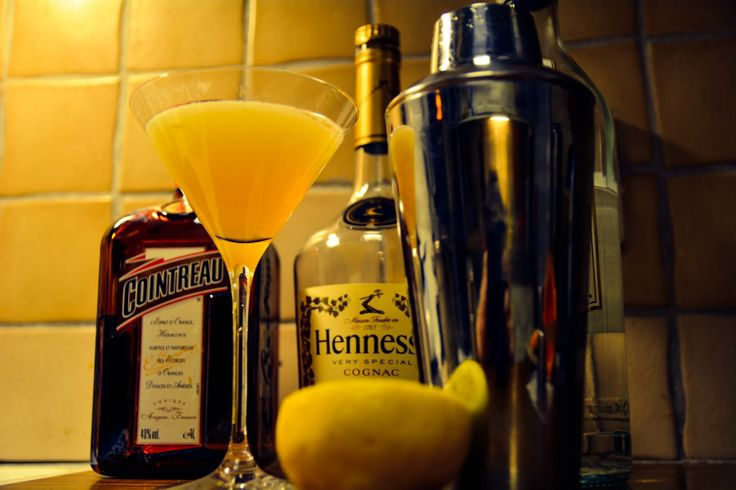 Between the Sheets. Yum! But strong... Cointreau, Havana Club, Hennessy and a lemon.