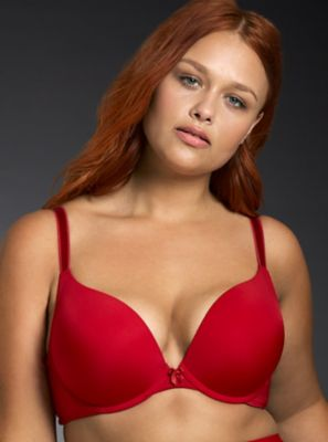 Microfiber Smooth Push-Up Plunge Bra in Red