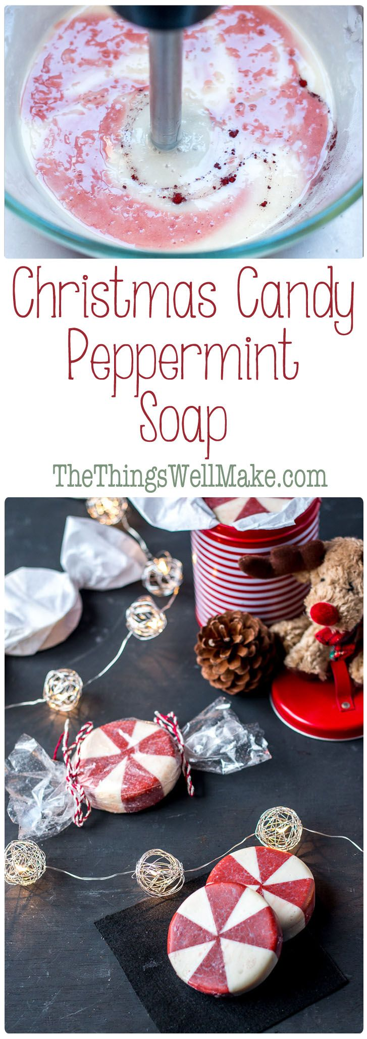This fun holiday peppermint soap looks like peppermint candy and it's perfect for Christmas time, but can also be enjoyed year round. (Diy Soap)