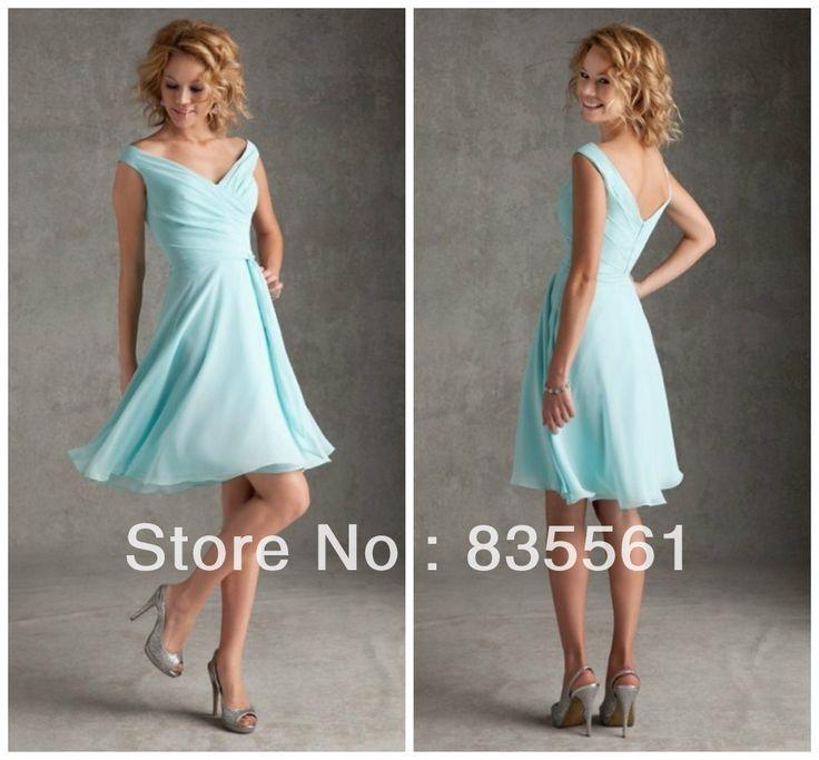 For Erika - 2014 Aqua Short Bridesmaid Dresses Chiffon Elegant Pleats Beach Casual Summer Bridal Party Dresses Custom Made Cheap On Sale US $89.99