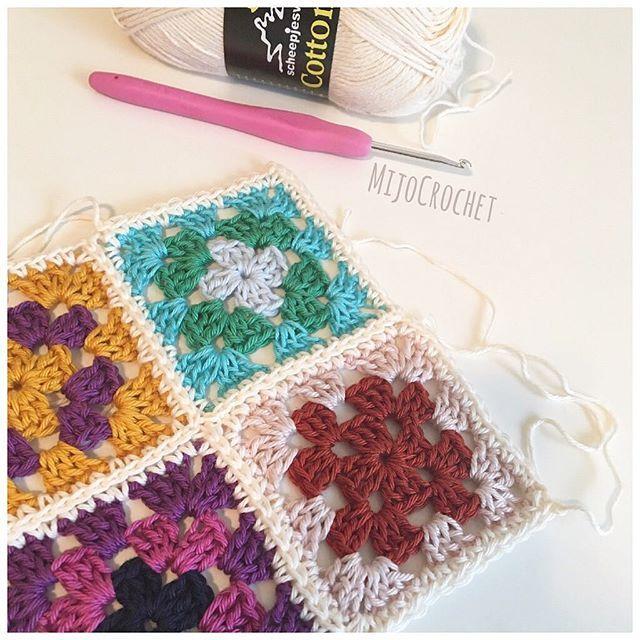 """New Tutorial  One of my favorite ways of joining squares is to join them as I go with single crochets. I just posted a tutorial how to do this on my blog (link in profile). Enjoy!  . Ett av mina favoritsätt att virka ihop rutor är """"Join as you go"""" med fasta maskor. Nu finns det en beskrivning hur du gör, steg för steg, på min blogg (länk i min profil). Enjoy!  . #mijocrochet #favoritgarner #diwy #scheepjes #scheepjescatona #scheepjescotton8 #grannysquare #mormorsrutor #joinasyougo #..."""