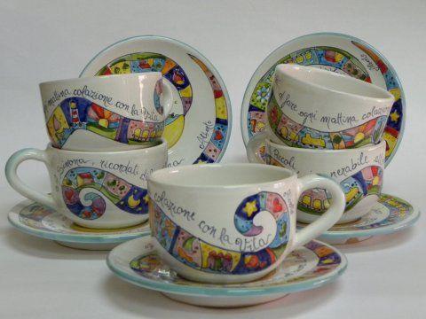 """( CODICE ARTICOLO: TAZ/05) Tazze da colazione modello bolo dipinte a mano con decoro """"Pessoa"""".Tecnica:maiolica"""