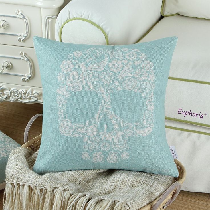 This exotic design cushion cover will embellish your bed or cushion magically, finally enlightening your whole room tastes by a spark second. Exotic Cushion Case Pillow Cover Ghost Skull Blue Hide Zip.