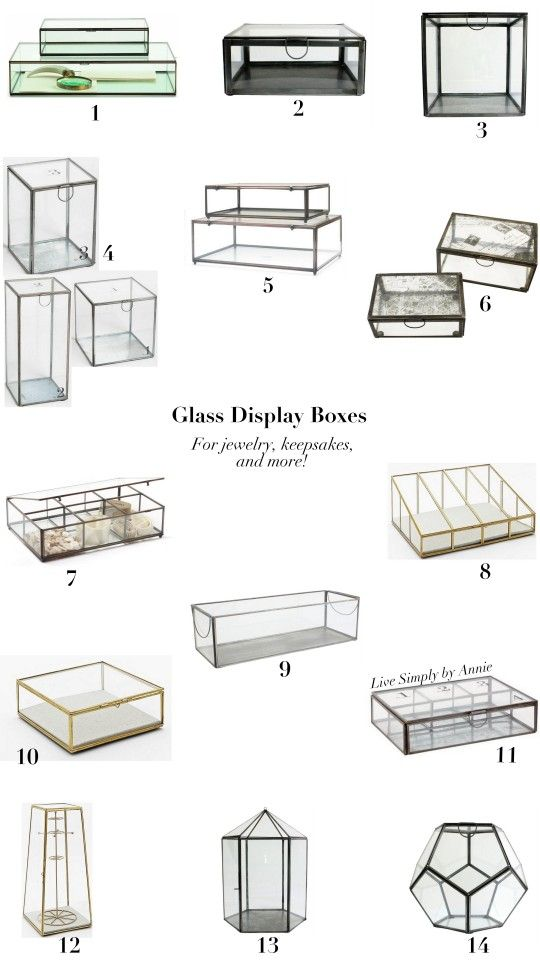 Glass Display Boxes for jewelry, keepsakes, and more.