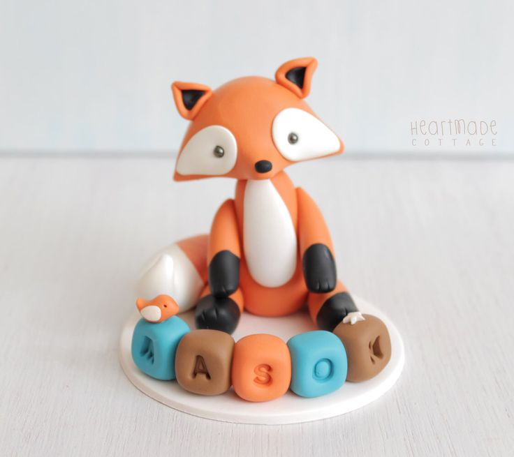 Fox baby shower cake topper, woodland personalised cake topper with name blocks, birthday red fox keepsake, clay ornament by HeartmadeCottage on Etsy https://www.etsy.com/listing/253178703/fox-baby-shower-cake-topper-woodland