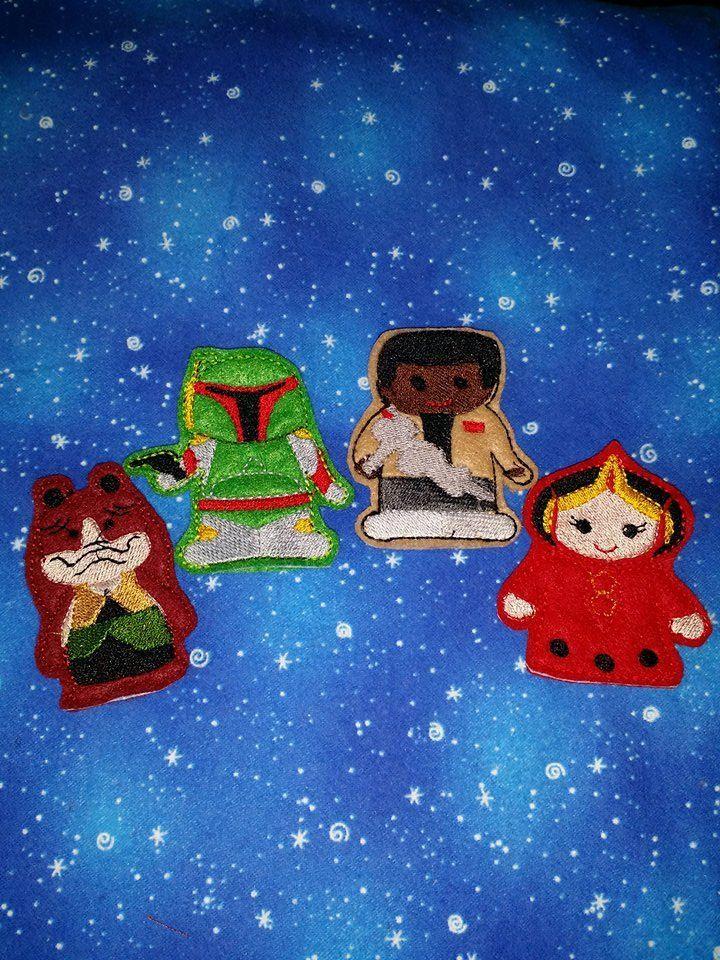 Star Wars add on Finger Puppets    JarJar Binks  , Boba Fett , Mace Windeu ,  Princess Amidala by NeedleWorkNest on Etsy