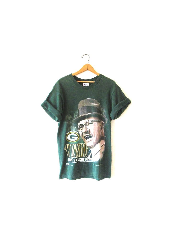"Vintage 1990s Green Bay PACKERS Super Bowl XXI Vince LOMBARDI ""Winning isn't Everything it's the Only Thing' Tshirt Sz M by FreshtoDeathVintage on Etsy"