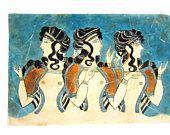 Mesdames bleues Minoennes fresque peinture de Crète Palais de Knossos, copie du Musée pour cadeau pour elle