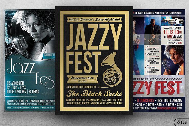 3 Flyers - Jazzy Fest Flyer Bundle