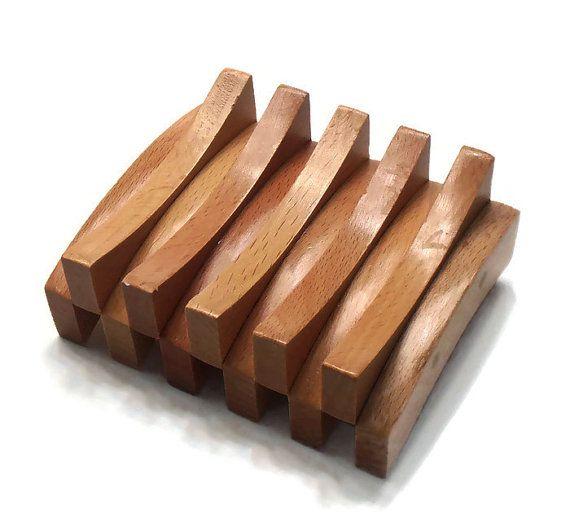 Savon plat  hêtre bois plat  porte-savon Double courbe