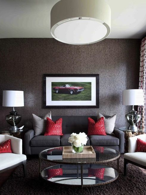 gray and red living room photo