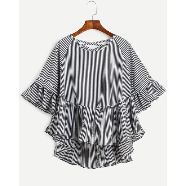 SheIn(sheinside) Black Vertical Striped Lattice-Back Ruffle High Low... ($14) ❤ liked on Polyvore featuring tops, blouses, half sleeve tops, flutter sleeve top, vertical stripe blouse, ruffle sleeve top and flutter sleeve blouse