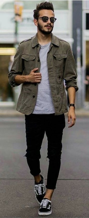 bacf7242af Fall combo inspiration with a military green jacket gray t-shirt black denim  watch sunglasses black ripped jeans no show socks black vans old skool.  model ...