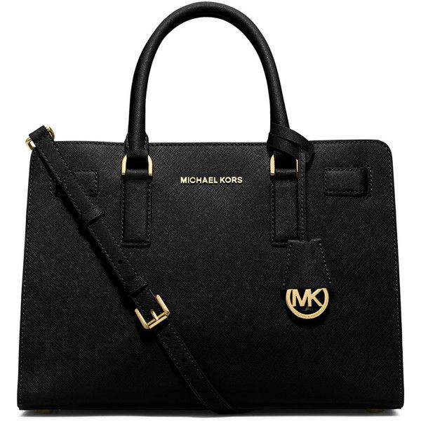 MICHAEL Michael Kors Dillon East-West Saffiano Satchel Bag (£195) ❤ liked on Polyvore featuring bags, handbags, purses, black, black satchel purse, zipper bag, satchel handbags, zip zip satchel and black bag