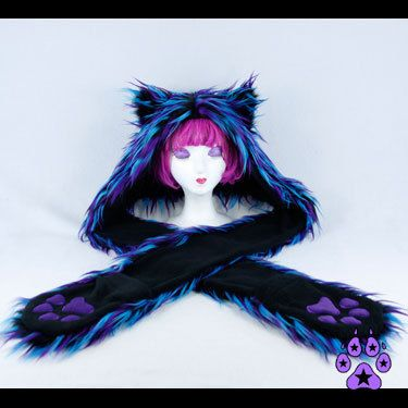 KITTY Cat Party Furz Fur Hood Embroidered paws u choose by pawstar