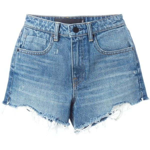 Alexander Wang destroyed denim shorts (895 BRL) ❤ liked on Polyvore featuring shorts, bottoms, pants, short, denim shorts, blue, blue jean shorts, ripped jean shorts, short denim shorts and frayed denim shorts