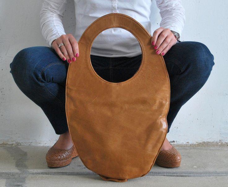 Camel tote bag, large leather handbag, camel brown oval bag, minimal handbag, camel leather handbag