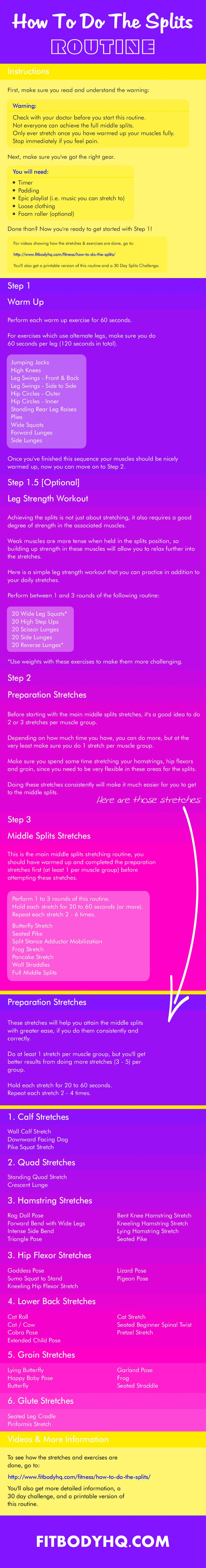 The Ultimate Middle Splits Stretching Routine. Get videos of ALL the stretches, a printable routine AND 30 Day Challenge!