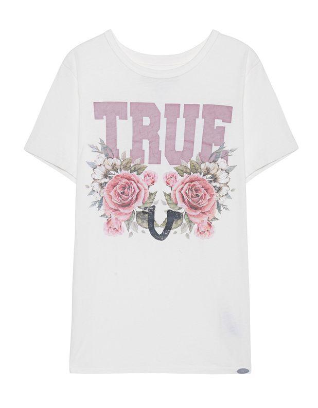 Baumwoll-T-Shirt mit Print  Lässiges weißes T-Shirt aus Baumwolle mit coolem Rosen-Print plus Signature Print im Vintage-Look.  Ein perfektes Everyday-Piece!