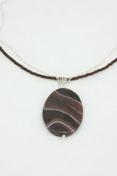 Agate, sterling silver and miyuki beads