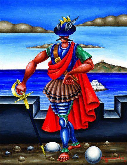 «Ο Μερκούριος ΜΠΟΥΑΣ», 1971. Λάδι σε καμβά. Συλλογή Ιδρύματος Ωνάση, με την ευγενική παραχώρηση των Kalfayan Galleries, Αθήνα - Θεσσαλονίκη.