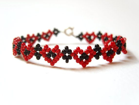 Beaded Heart Bracelet, Seed Bead Friendship Bracelet, Bead Woven Jewelry, Gifts for Teenagers