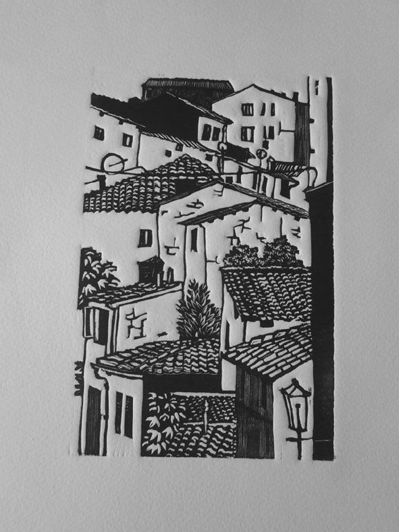 Italian town linocut by Di Oliver. www.dioliver.co.uk Tags: Linocut, Cut, Print, Linoleum, Lino, Carving, Block, Woodcut, Helen Elstone, Buildings, Town, Europe, Italy.