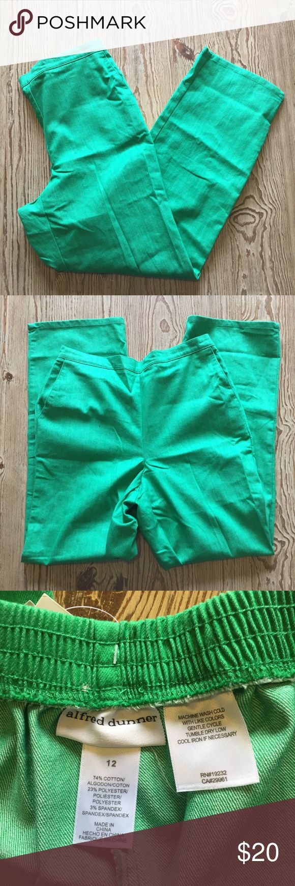NWT Kelly Green Pants Really cute Kelly green shade pants. Bought new from Macy's, still with tags. Side slit pockets and elastic band in the back. Stretch material with 74% cotton, 23% polyester and 3% spandex. Alfred Dunner Pants