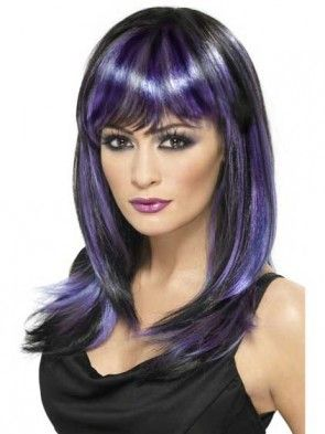 Glamour Black and Purple Wig